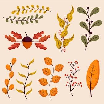 Collection d'éléments d'automne dessinés à la main