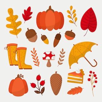 Collection d'éléments d'automne plat