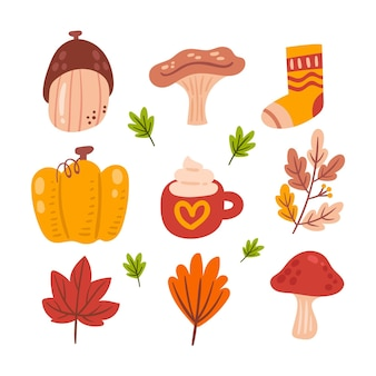 Collection d'éléments d'automne plats dessinés à la main