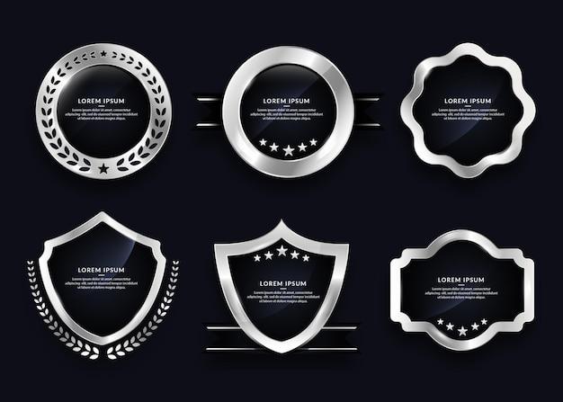 Collection d'éléments de badges argent vierges