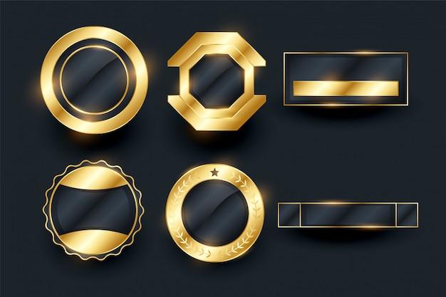 Collection d'éléments de badges et étiquettes dorés vides