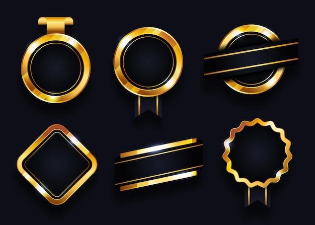 Collection d'éléments de badges et étiquettes dorés vierges