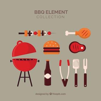 Collection d'éléments de barbecue dans un style plat