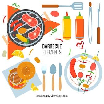 Collection d'éléments de barbecue plat