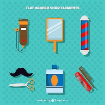 Collection d'éléments de barbier plat