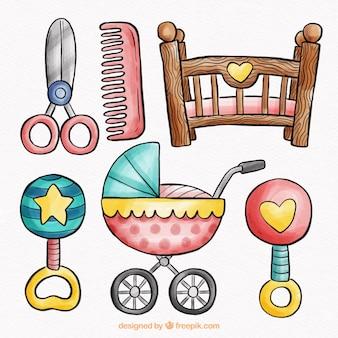 Collection d'éléments de bébé dans un style aquarelle