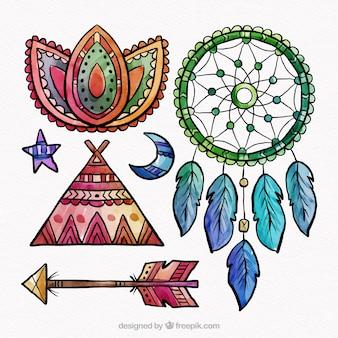 Collection d'éléments boho dans un style aquarelle