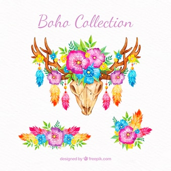 Collection d'éléments boho dans un style aquarelle