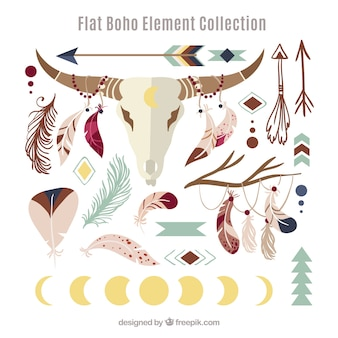 Collection d'éléments boho avec un design plat