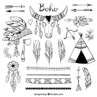 Collection d'éléments boho dessinés à la main
