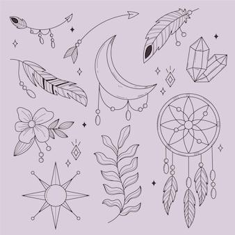 Collection d'éléments boho linéaires dessinés à la main