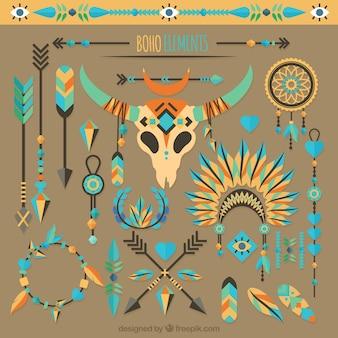Collection d'éléments de boho avec des plumes