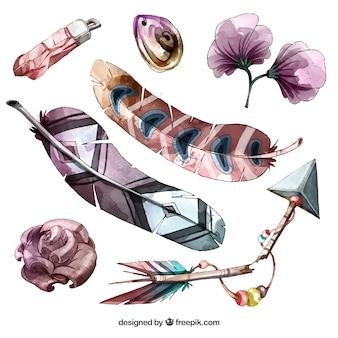 Collection d'éléments boho avec des plumes