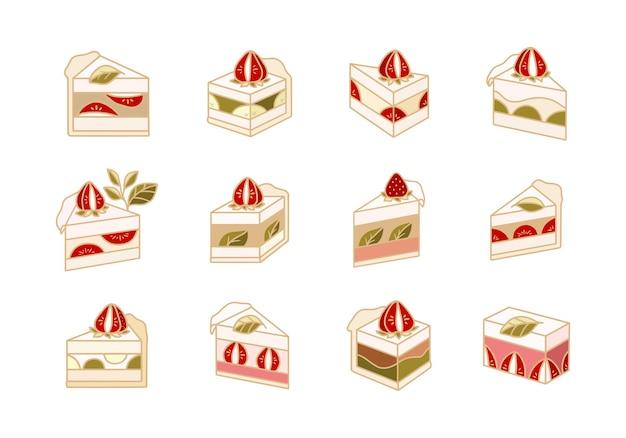 Collection d'éléments de boulangerie pâtisserie gâteau mignon dessinés à la main isolés