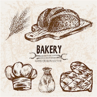 Collection d'éléments de boulangerie