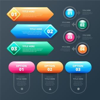 Collection d'éléments brillants d'infographie réaliste