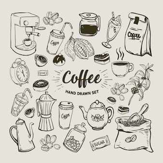 Collection d'éléments de café