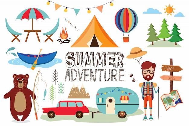 Collection d'éléments de camping avec des articles amusants isolés