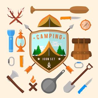 Collection d'éléments de camping