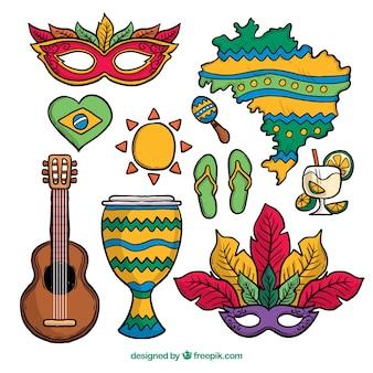 Collection d'éléments de carnaval brésilien dessinés à la main