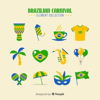 Collection d'éléments de carnaval brésilien