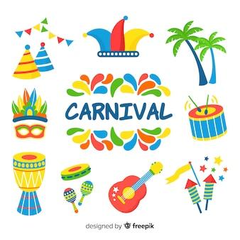 Collection d'éléments de carnaval dessinés à la main