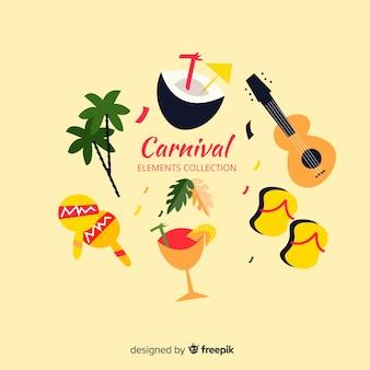 Collection d'éléments de carnaval plats