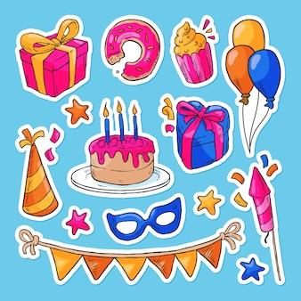 Collection d'éléments de célébration de joyeux anniversaire