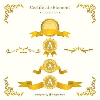 Collection d'éléments de certificat en couleur dorée