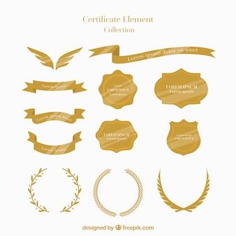 Collection d'éléments de certificat dans le style plat