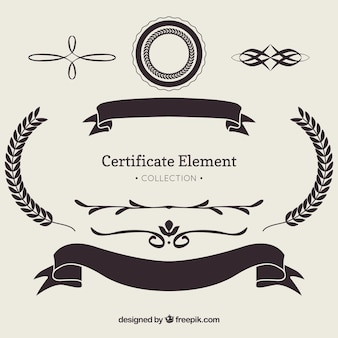 Collection d'éléments de certificat avec des ornements
