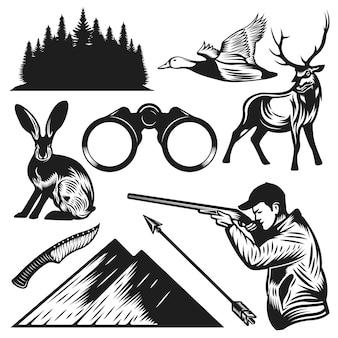 Collection d'éléments de chasse vintage