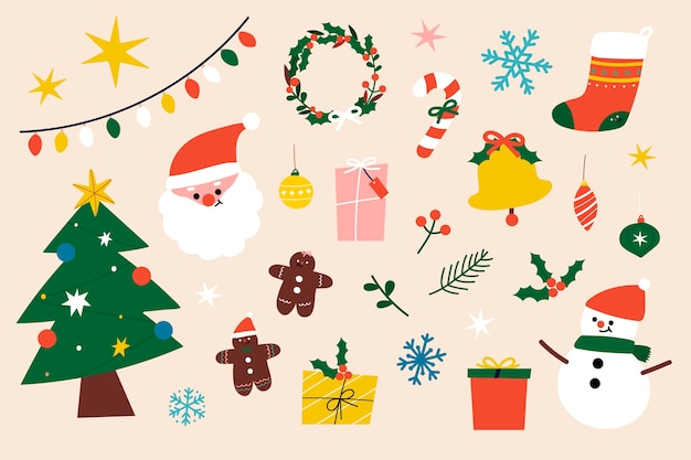 Collection d'éléments de clipart de noël festif