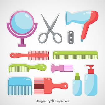 Collection d'éléments de coiffure