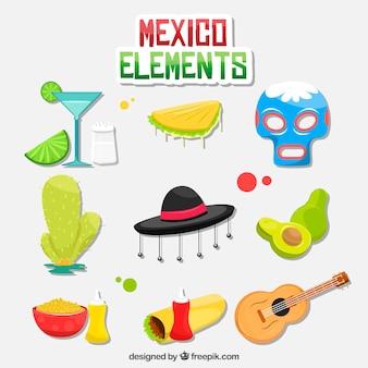 Collection d'éléments colorées de mexico