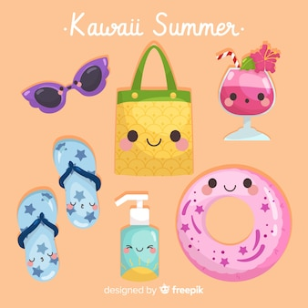Collection d'éléments colorés de l'été kawaii