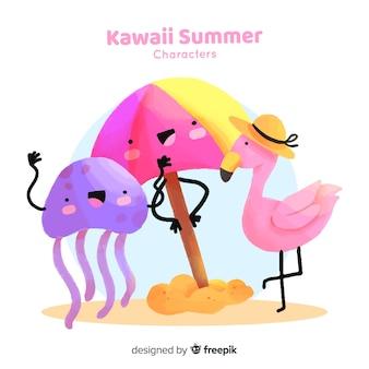 Collection d'éléments colorés de l'été kawaii