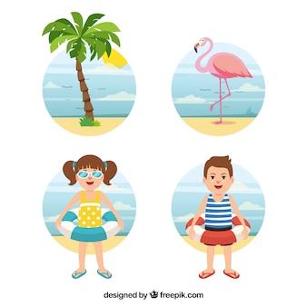 Collection d'éléments colorés d'été