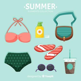Collection d'éléments colorés de l'été