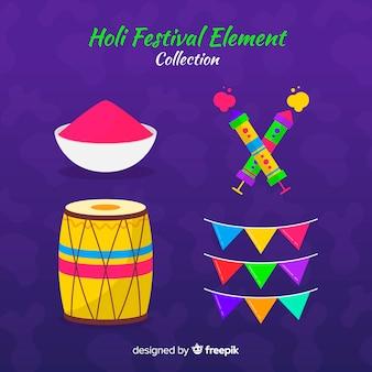 Collection d'éléments colorés holi fesival