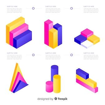 Collection d'éléments colorés infographiques isométrique