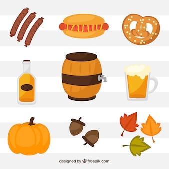 Collection d'éléments colorés les plus oktoberfest