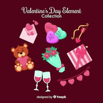 Collection d'éléments colorés de la saint-valentin