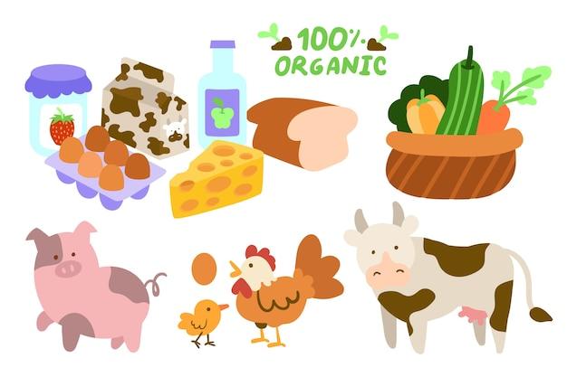 Collection d'éléments de concept d'agriculture biologique