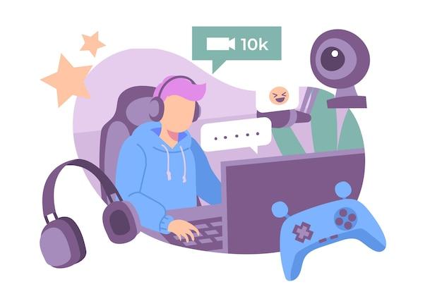 Collection d'éléments de concept de streamer de jeu dessinés à la main