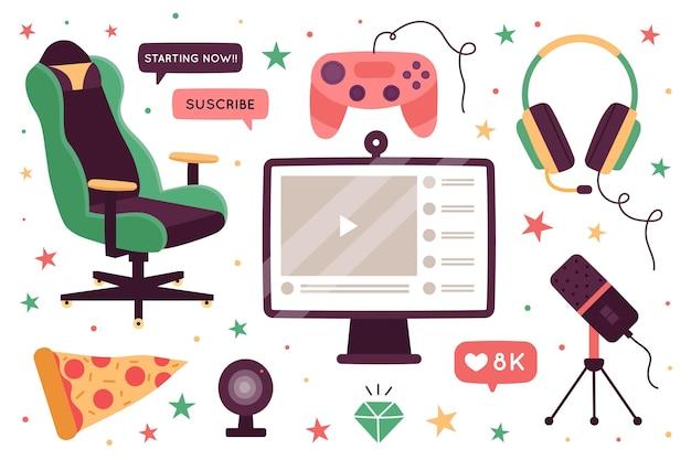 Collection d'éléments de concept de streamer de jeu plat organique