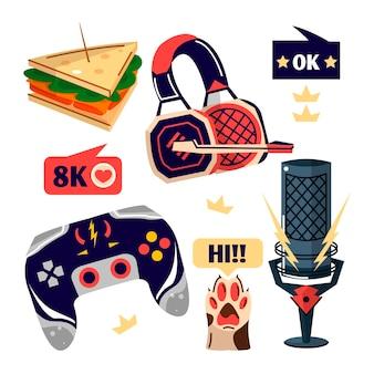 Collection d'éléments de concept de streamer de jeu plat