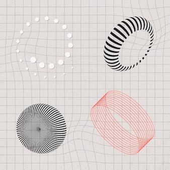 Collection d'éléments de conception 3d abstraite