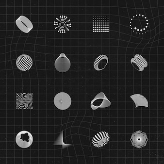 Collection D'éléments De Conception 3d Abstraite Vecteur gratuit