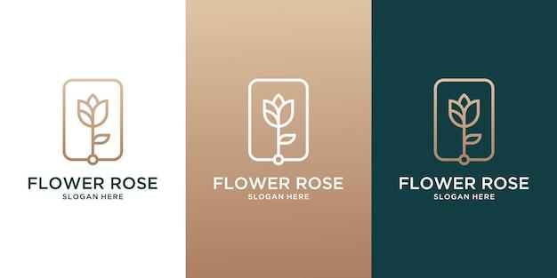 Collection d'éléments de conception de décoration minimale de ligne définie fleur rose